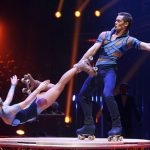"Artists of ""Skating Pilar"" perform during the awards ceremony for the 36th Monte Carlo International Circus Festival in Monaco"